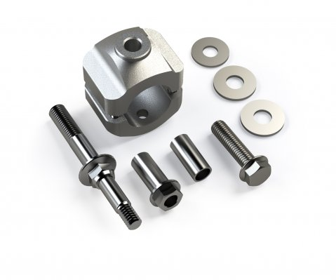 JK: Steering Stabilizer Relocation Mount Bracket Kit - HD Tie Rod